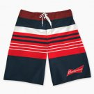 Budweiser Men's Striped Board Shorts Red