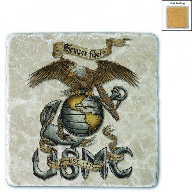 Marines Eagle USMC Stone Coaster Beige
