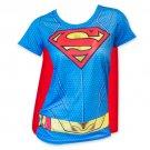 Superman Women's Sublimated Cape Costume Tee Shirt Blue