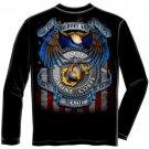 USMC True Heroes Marines Patriotic Long Sleeve Tee Shirt Black