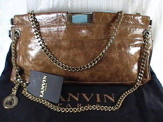 Authentic Lanvin Paris Brown Chain Shoulder bag, Used