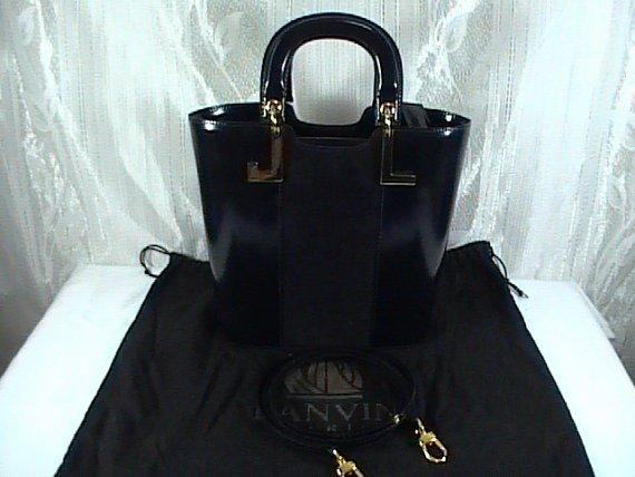 Auth Lanvin Paris 2way handbag, black, Suede/leather ,Used