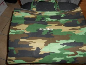 Handmade Embroidered Military Tote - Army
