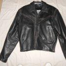 Ladies Studded Lined Black Leather Jacket Size 16