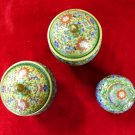 Asian Jars wtih Lids Floral  Motif Three Piece Set
