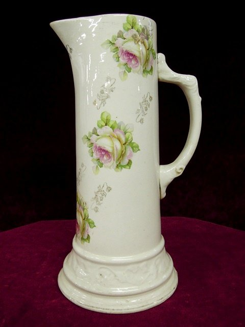 Antique Royal Firenze China Tankard Pitcher Floral