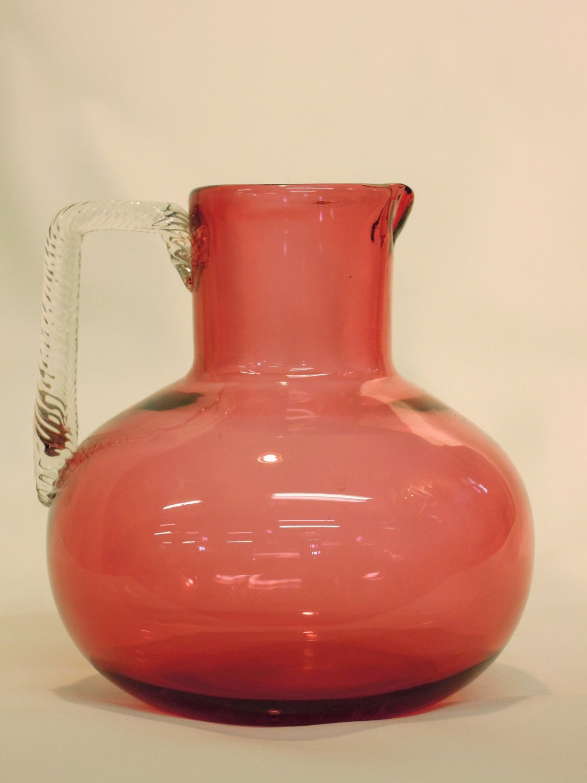Vintage Bohemian Art Glass Pitcher Red Vintage Blown Handle