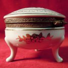 White Limoges Trinket Box Gold Accents