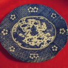 Vintage Confronting Dragon Dish Blue and White