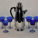 Vintage Cocktail Bar Set, Chrome, Cobalt Blue Glasses