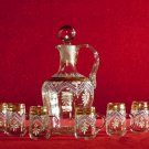 Vintage Glass Decanter and Cordial Set