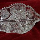 ABP  Cut Glass Candy Dish Leaf Shaped Saw tooth Rim Hobstar Buzz Stars