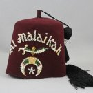 Vintage Mason Shriner Al Malaikah Fraternal Fez Hat Opalescent Multi- Jeweled