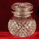 Vintage Crystal Jar Lid Diamond Cut with Radiant Star