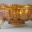 Fenton Carnival Footed Fruit Bowl Marigold Butterfly and Berries