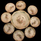 Antique China Bowl Set Grape Motif Nine Piece Set