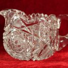 ABP Crystal Creamer and Sugar Bowl Hobstar Geometric Saw tooth