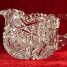 Crystal Creamer Sugar Bowl Hobstar Geometric Saw tooth