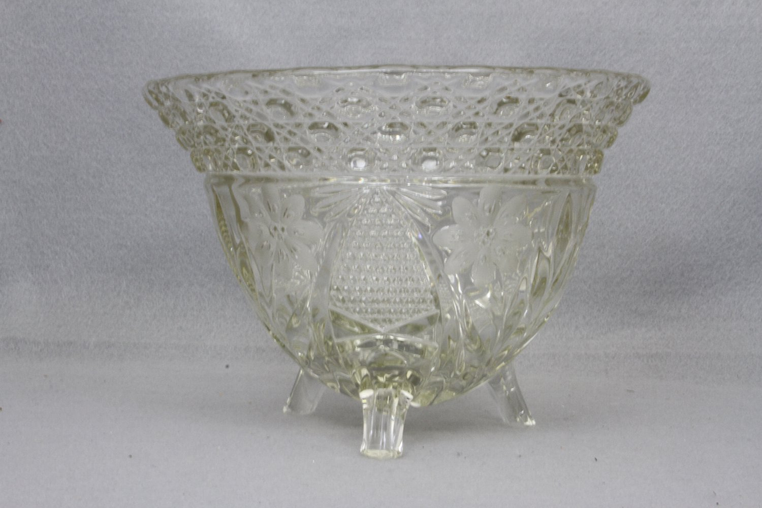 ABP Crystal Rose Bowl Floral pattern three footed