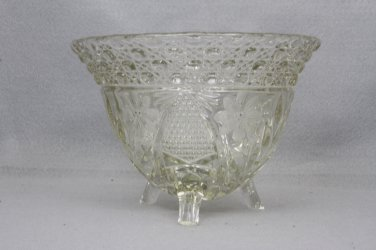 Crystal Rose Bowl Floral pattern three footed