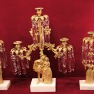 Antique Figural Candelabra Gilded Girandole Prisms