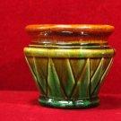 Vintage Planter  Double Leaf Motif Green Orange