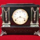 Ingraham  Clock Lion Head Mantel Antique
