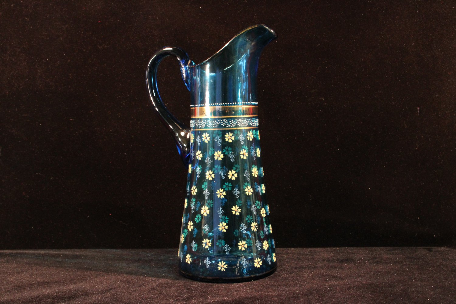 Vintage  Glass Pitcher Enameled