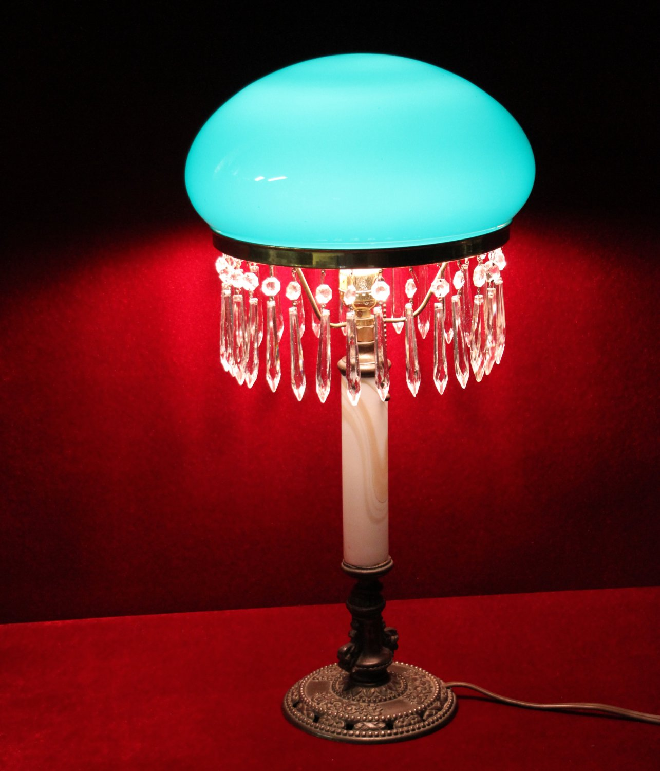 Salt Lamps Etc Lancaster Ny : Antique Crystal Lamp Green Canopy Shade