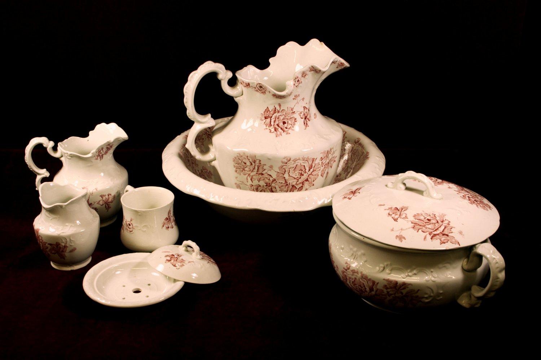 Antique Pottery Wash Set Made In Pelham England Rare