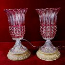 Pair Glass Lamps Tulip Clear to Pink Ornate