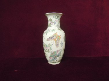 Vintage Asian Vase Butterfly Motif Hand-painted Colorful