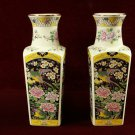 Pair Miyako Vases Birds Floral Designs Japan Colorful