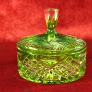 Vintage Green Cut Glass Candy Dish with Lid Hobstar radiant star