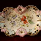 Antique Carl Tielsch German Dish Floral Stunning Germany