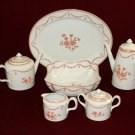 Vista Alegre China Peach Roses Tea Coffee Pot Creamer Sugar Platter  Portugal Pattern Rare to find