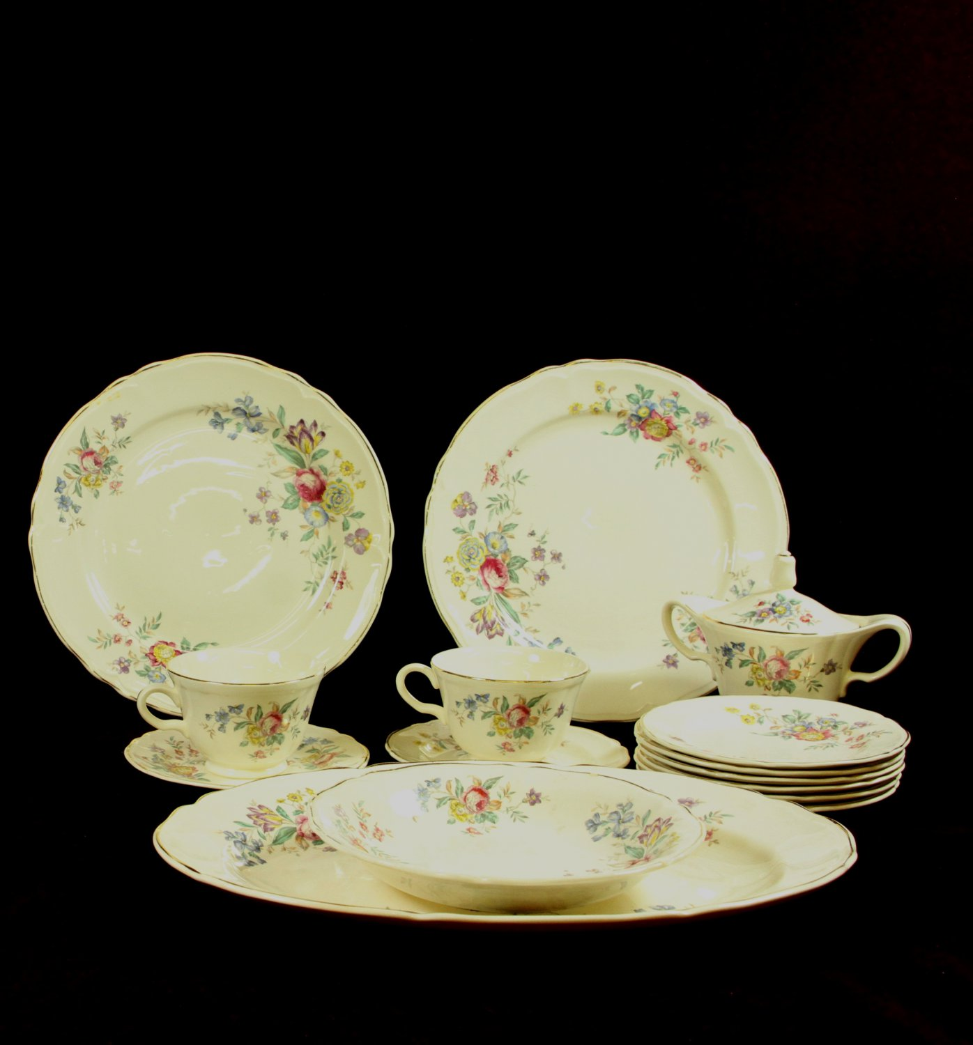 antique knowles china dishes semi vitreous 15 piece set