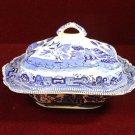 Buffalo Pottery Casserole Covered Dish Blue Willow 1911
