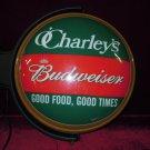 Budweiser Rotating Lighted Bar Sign O Charley's Good Food Good Times