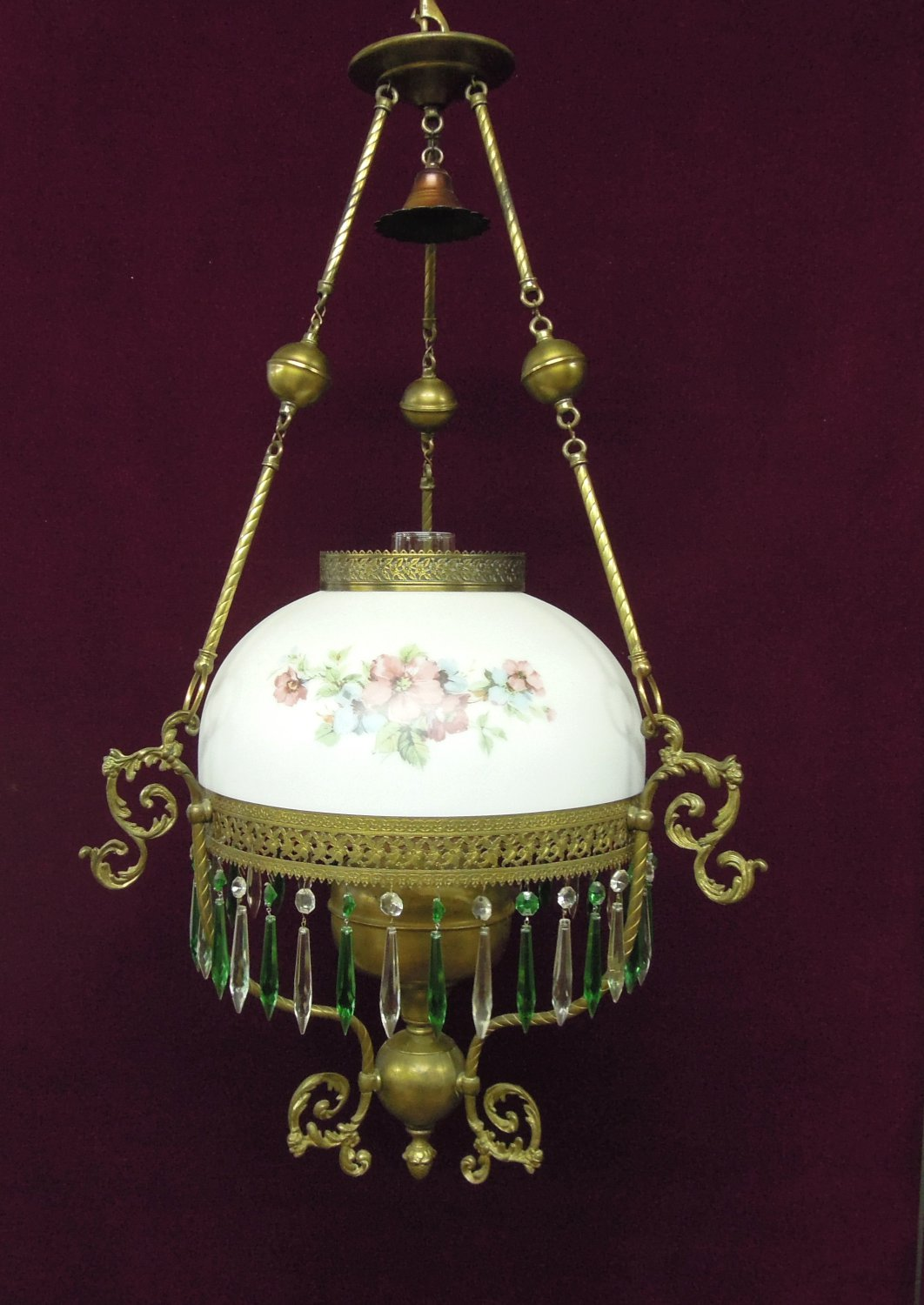 P & A Hanging Parlor Oil Lamp White