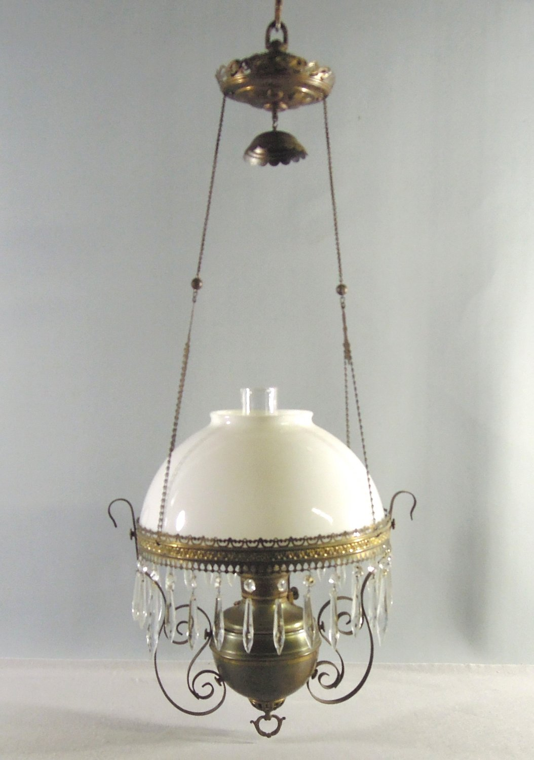 Antique Hanging Parlor Oil Lamp Royal Center Draft White Milk Glass Shade