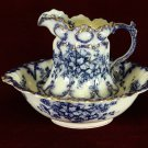 T R & Company Pitcher and Wash Bowl Blue Floral