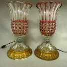 Pair Lamps Clear to Red Petal Rim Thumbprint Gold Base