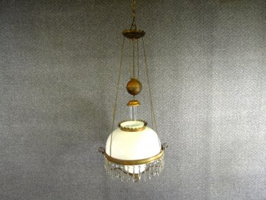 Antique B & P Hanging Parlor Oil Lamp White Glass Shade Brass Base