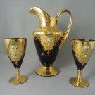 Bohemian Glass Pitcher Wine Goblets Gold Overlay Enamel Flowers