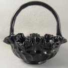 Fenton Ebony Glass Wedding Basket Ruffed Edge Thumbprint Pattern LARGE