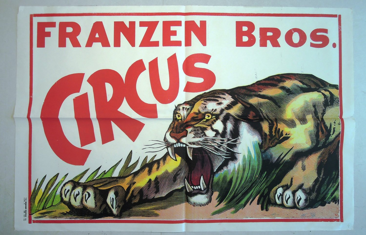 Franzen Brothers Circus Vintage Poster Roaring Crouching Tiger  3