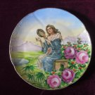 Saxe Germany Charger Plate Woman Playing Tambourine Rare