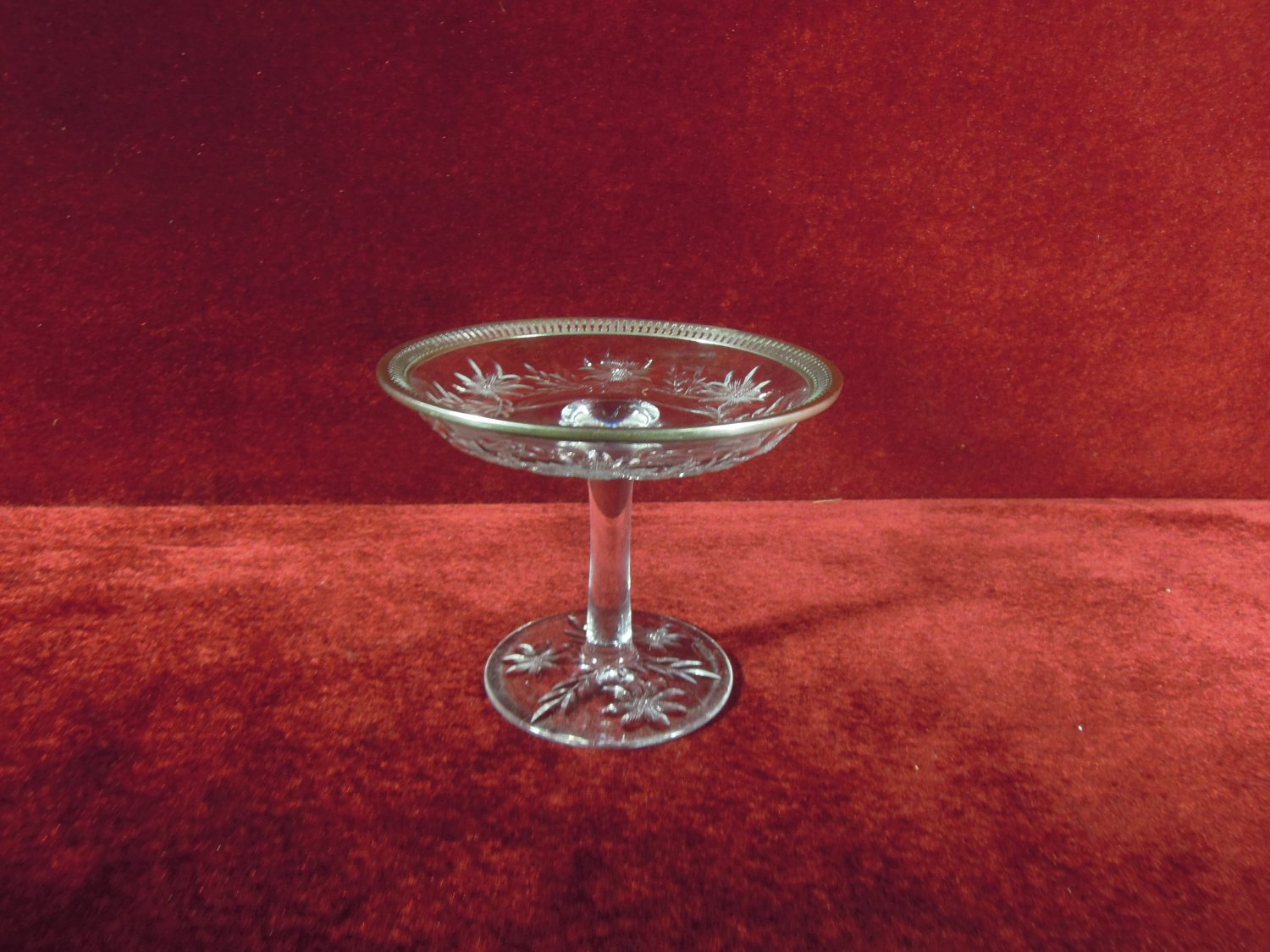 Wilcox Glass Compote Cornflower Silver-plate Reticulated Band