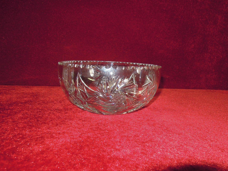 Cut Glass Bowl Hobstars Pinwheels notched Rim